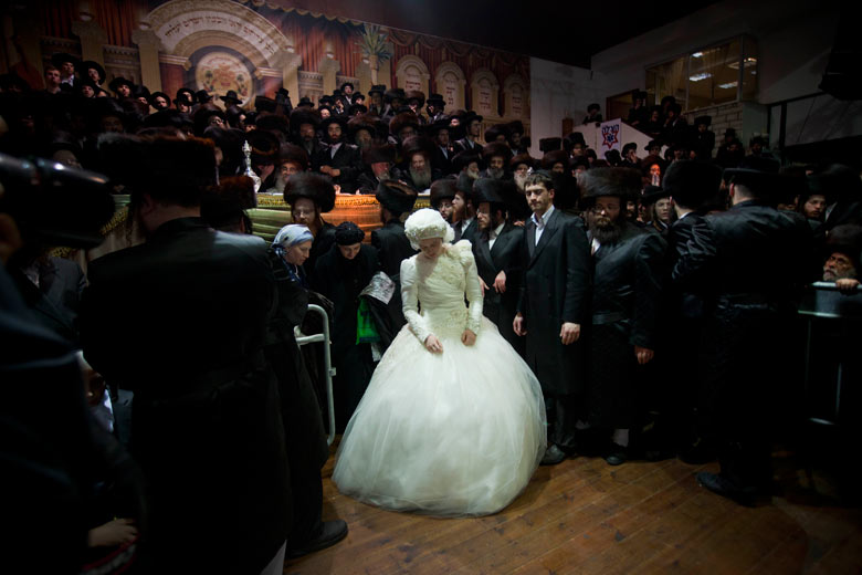 Ultra-Orthodox Jewish bride Nechama Paarel Horowitz at her traditional wedding