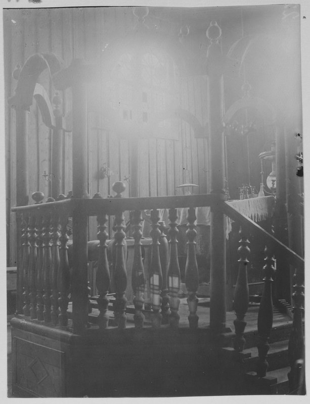 Интерьер деревянной синагога в м. Лянцкорунь. Фото П. Жолтовского. [1930 г.].– ИР НБУВ, ф. 278